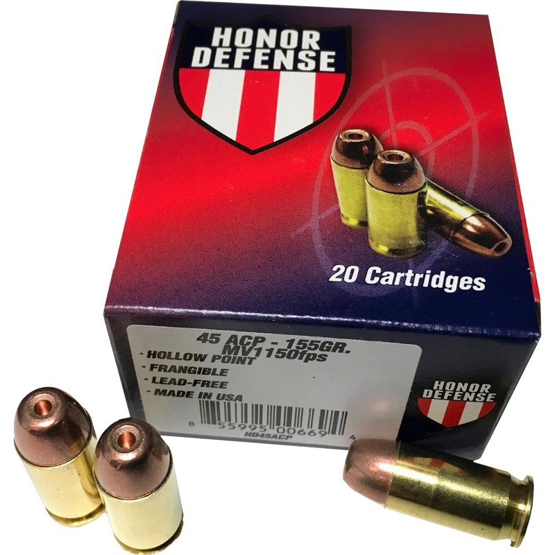 Honor Defense .45 ACP 155-Grain Hollow-Point Frangible Pistol Ammunition - Pistol Shells at Academy Sports thumbnail