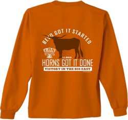 New World Graphics Men's University of Texas 2018 Sugar Bowl Champions Bevo Long Sleeve T-shirt