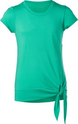 Girls' Solid Micromodal Tie Front T-shirt