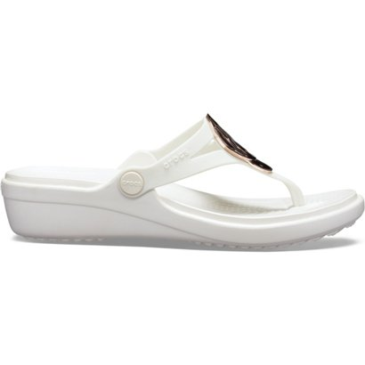 5b3909fc93845 Crocs Women s Sanrah Liquid Metallic Wedge Flip-Flops