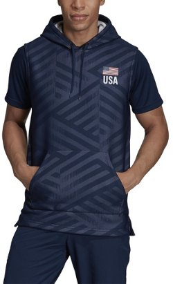 adidas Men's USA Volleyball Sleeveless Hoodie