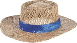 Men's Seagrass Gambler Hat with Palm Print Band