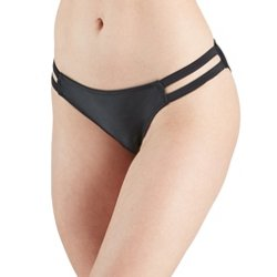 Juniors' Solid Double Strap Hipster Swim Bottoms