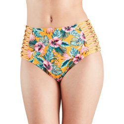 Juniors' Hula Hibiscus High-Waisted Swim Bottoms