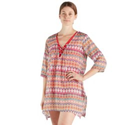 Women's Lace-Up Tunic Swim Cover-Up