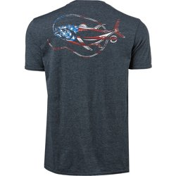 Men's Short Sleeve Patriotic Hooked Fish Graphic T-shirt