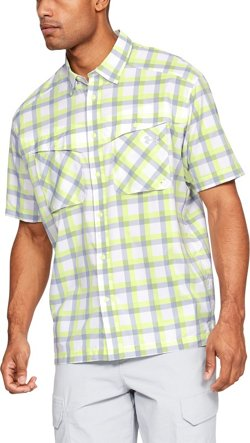 Men's Tide Chaser Plaid Button Down Short Sleeve Shirt