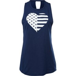 Women's Americana Heart Knot Back Graphic Tank Top