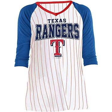 low priced 4372a b272c New Era Girls' Texas Rangers Pinstripe Jersey Raglan T-shirt