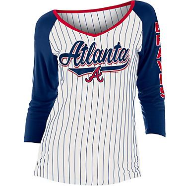 reputable site 3af98 fdc92 New Era Women's Atlanta Braves Pinstripe Jersey 3/4 Sleeve Top