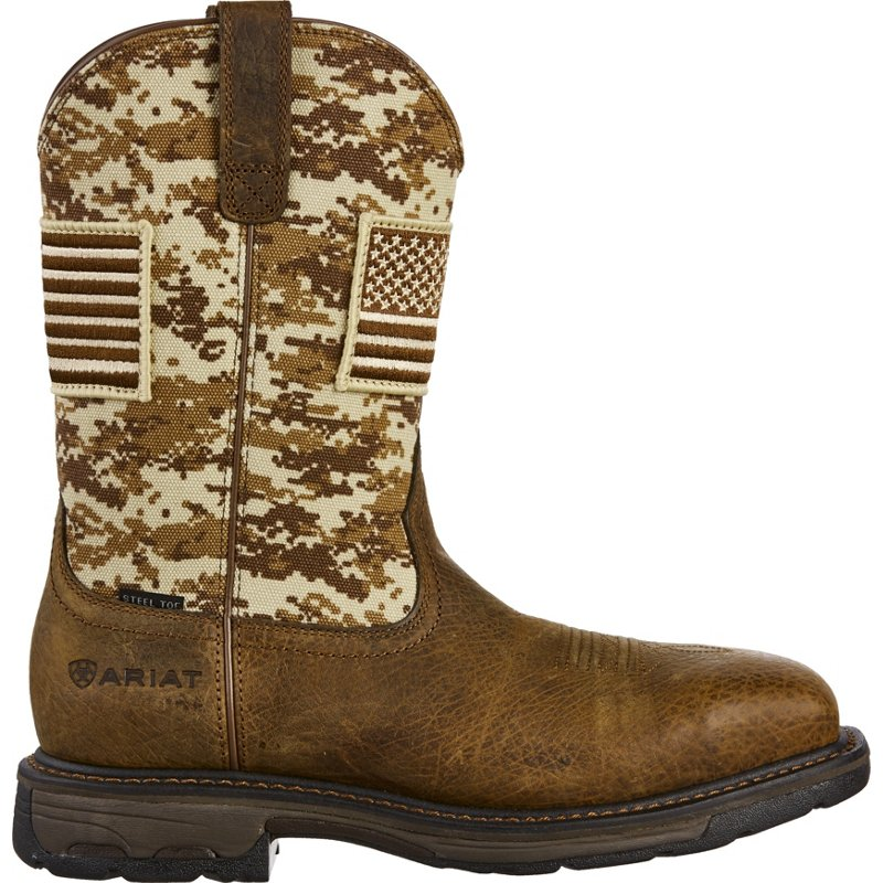 Ariat Men's WorkHog Patriot Camo Safety Toe Wellington Work Boots (Earth/Sand, Size 7) - Wellington Steel Toe Work Boots at Academy Sports thumbnail