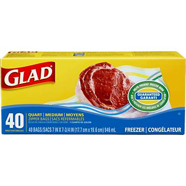 Glad Zipper Quart Freezer Bags 40-Pack
