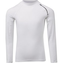 Boys' 4-7 Solid Logo Raglan Long Sleeve Rash Guard