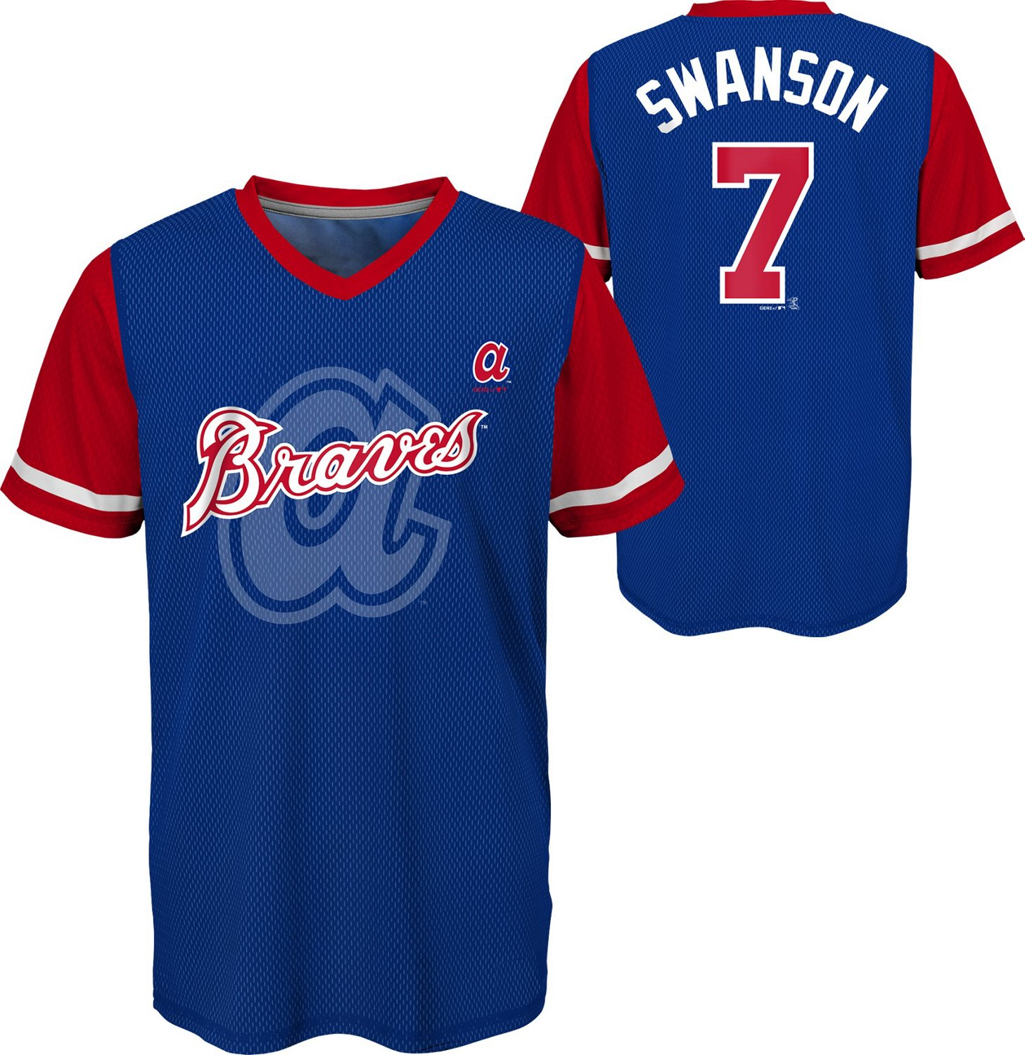 best loved f5dff b8716 Majestic Boys' Atlanta Braves Dansby Swanson Play Hard V-neck NN Jersey  T-shirt
