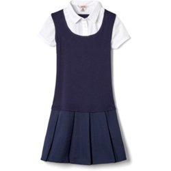 Girls' Short Sleeve 2-Fer Pleated School Dress