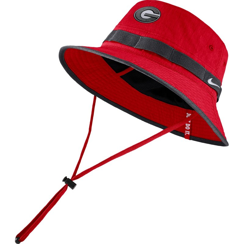 new style 32eaf 940cf Nike Men s University of Georgia Sideline Dry Bucket Hat Red - Ncaa Men s  Caps at Academy
