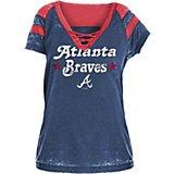 61d27a35e43 New Era Women s Atlanta Braves Burnout Wash Jersey V-neck T-shirt