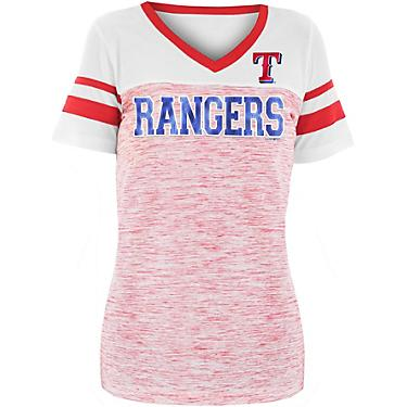 buy online 02cd1 eac43 New Era Women's Texas Rangers Space Jersey V-neck Shirt