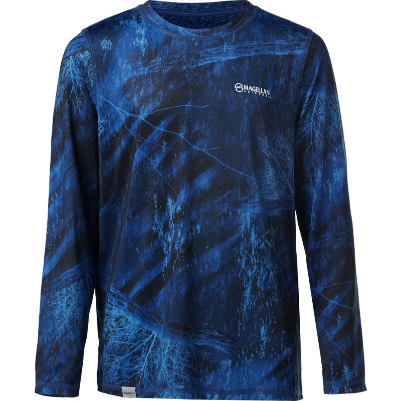Magellan Outdoors Boys' Realtree Fishing Reversible Long Sleeve T-Shirt Blue/Black, Large - Boy's Casual Tops at Academy Sports thumbnail