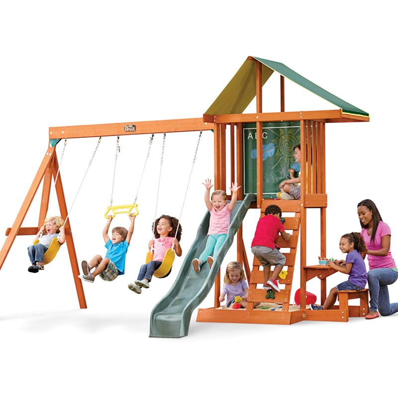 KidKraft Springfield II Wooden Play Set Brown - Swing Sets/Bounce Houses at Academy Sports