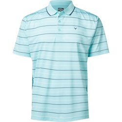 Men's Oxford Stripe Golf Polo Shirt with Tip Detail