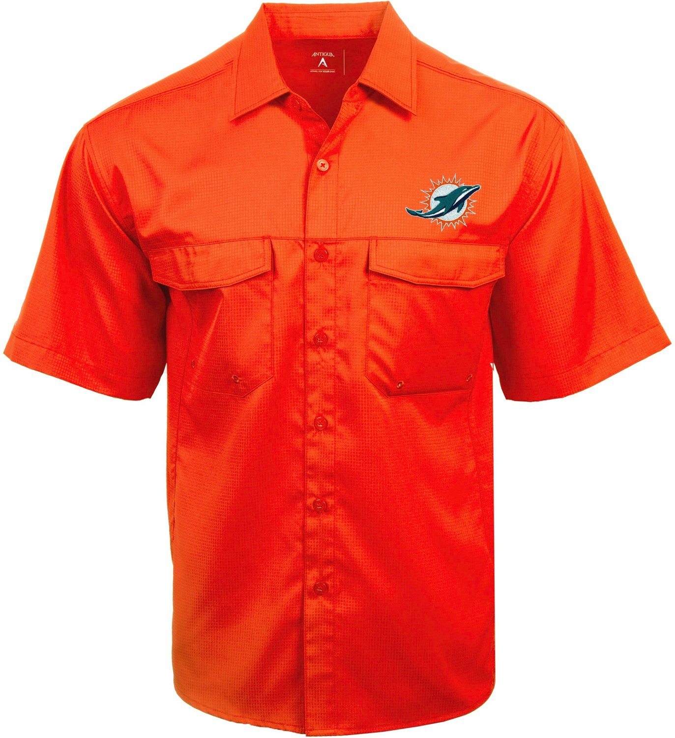 new concept 7ab73 0824f Antigua Men's Miami Dolphins Game Day Woven Fishing Shirt
