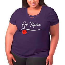 Women's Clemson University Caged Front Plus Size T-shirt