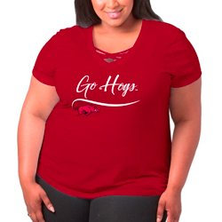 Women's University of Arkansas Caged Front Plus Size T-shirt