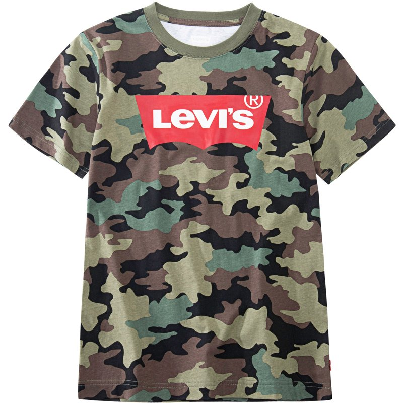 Levi's Boys' All-Over Camo Print Batwing Logo Graphic T-Shirt Green/Black, Small – Boy's Athletic Tops at Academy Sports
