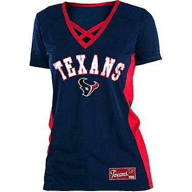 detailed look efa77 10c41 5th & Ocean Clothing Women's Houston Texans Poly Mesh Lattice T-shirt