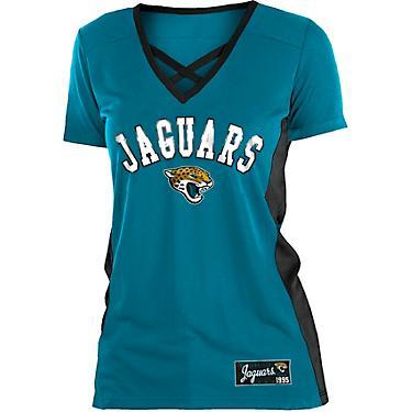 a32056c3 5th & Ocean Clothing Women's Jacksonville Jaguars Poly Mesh Lattice T-shirt