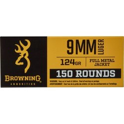 FMJ 9mm 124-Grain Centerfire Ammunition 150-Rounds