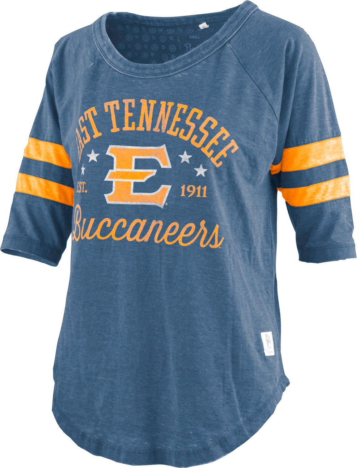 newest d1be3 46132 Three Square East Tennessee State University Buccaneers Women's Jade  Vintage Jersey 3/4 T-shirt
