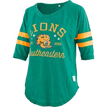 size 40 006e0 792c4 Three Square Southeastern Louisiana Lions Women's Jade Vintage Jersey 3/4  T-shirt