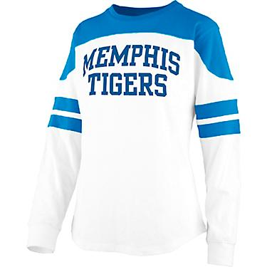 online store 1a485 165ab Three Square Women's University of Memphis Half Back Jersey Long Sleeve  T-shirt