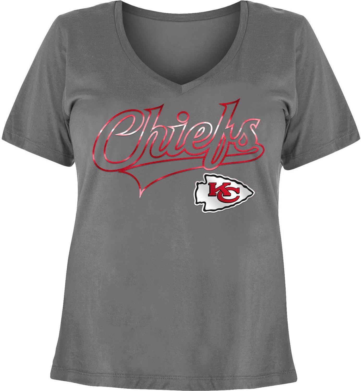 the best attitude f52df 42a9c 5th & Ocean Clothing Women's Kansas City Chiefs Baby Jersey Plus Size  V-neck T-shirt