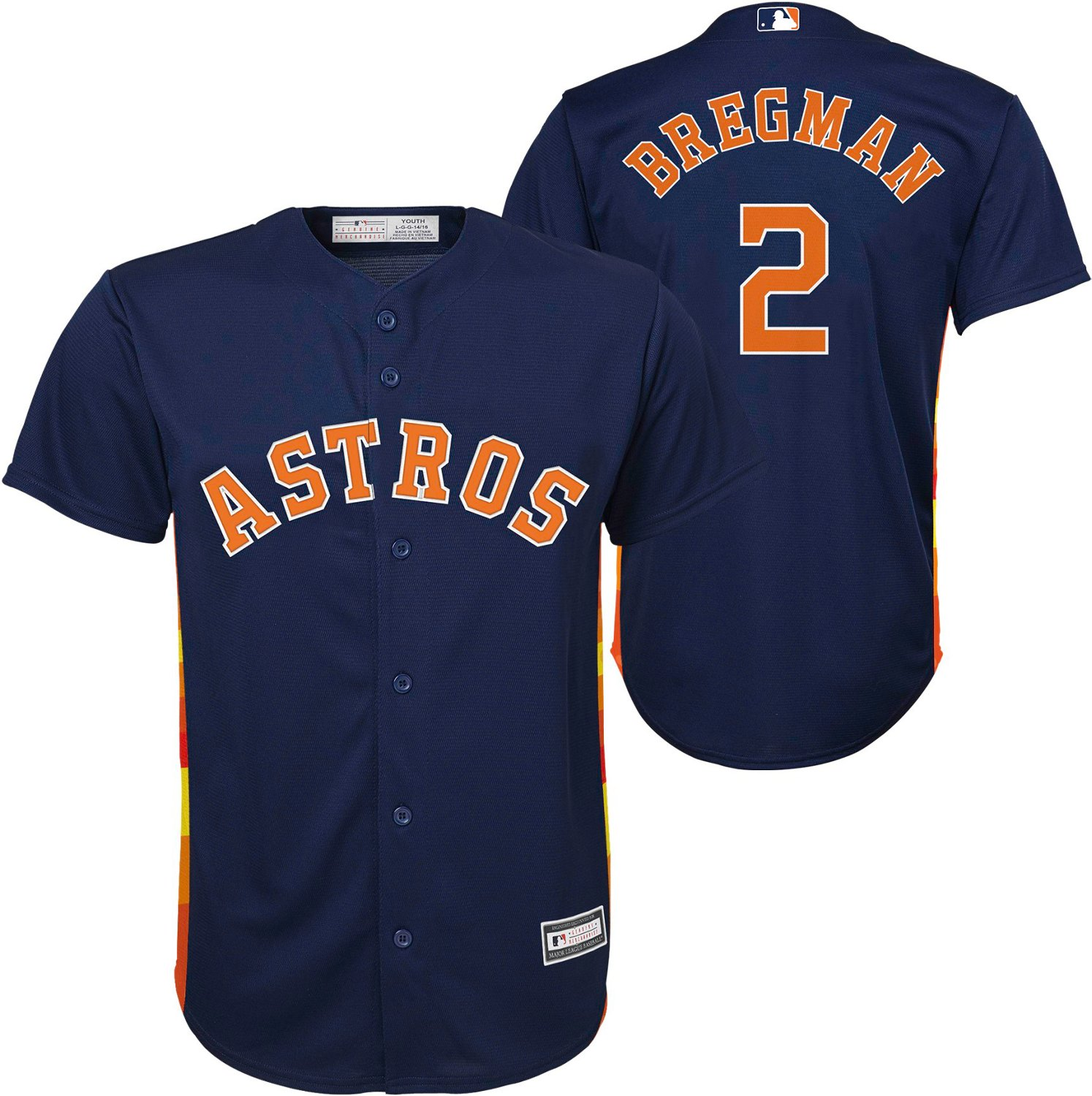 cheap for discount 72ff6 95cf7 MLB Boys' Houston Astros Alex Bregman Alt 2 Sanitized Replica Jersey