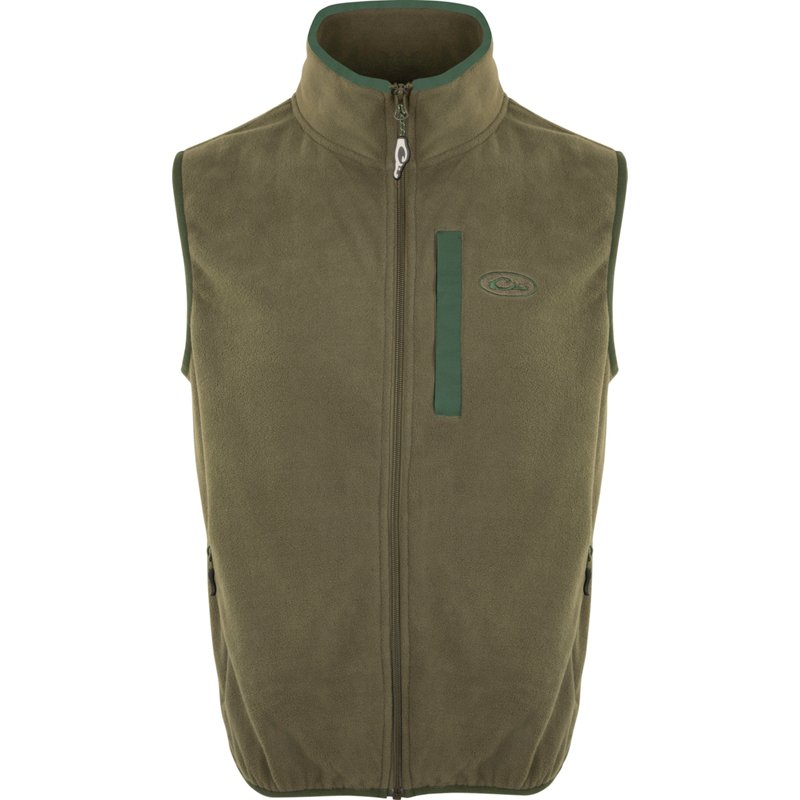 Drake Waterfowl Men's Camp Fleece Vest O/Dark Green, 2X-Large - Men's Longsleeve Outdoor Tops at Academy Sports thumbnail
