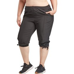 Women's Athletic Stretch Plus Size Woven Capri Pants