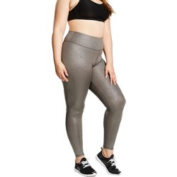 Juniors' Plus Size Curves Slay Metallic Leggings