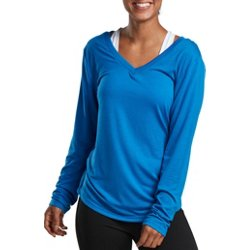 Women's Athletic Double V-neck Long Sleeve T-shirt