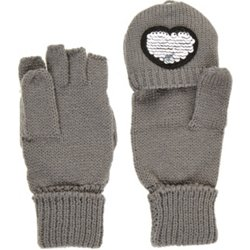Girls' Sequined Heart Glommet Ski Gloves