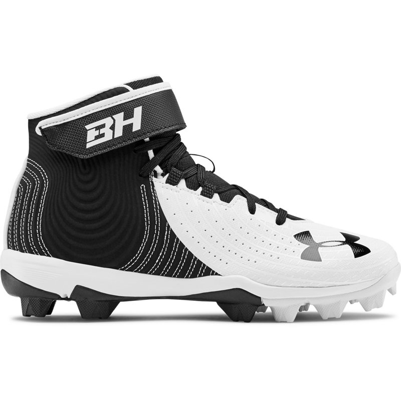 Under Armour Boys' Harper 4 Mid Baseball Cleats Black, 1.5 - Youth Baseball at Academy Sports (119409479 3022062-001) photo