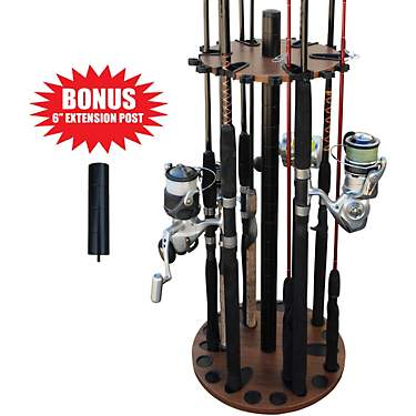 Rush Creek 24 Fishing Rod Round Rack with Extension Post
