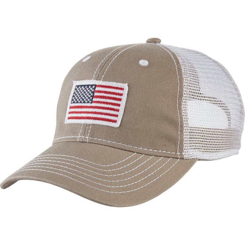 Academy Sports + Outdoors Men's American Flag Trucker Hat Beige/Khaki - Men's Hunting/Fishing Headwear