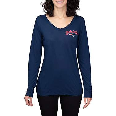 College Concept Women's New England Patriots Side Marathon V-neck Long Sleeve T-shirt