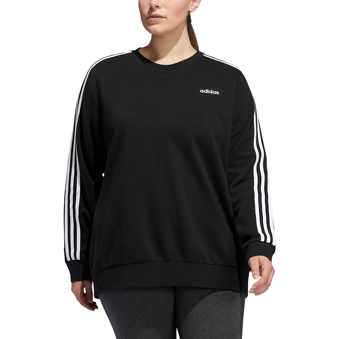 adidas Women's 3-Stripes Fleece Plus Size Sweatshirt