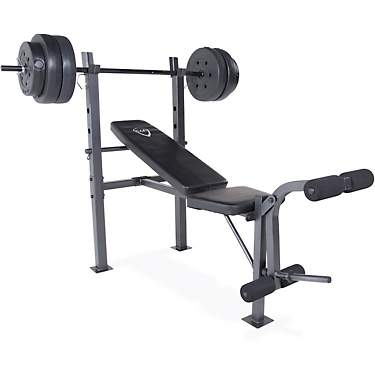 CAP Barbell Weight Lifting Bench with Preacher and 100 lb Weight Set