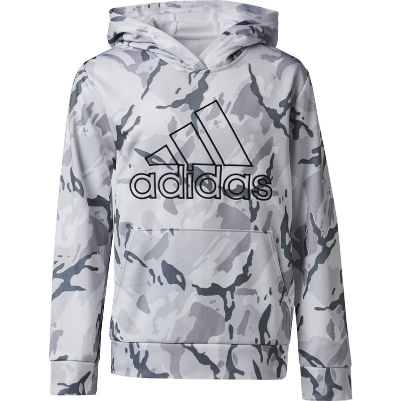 adidas Boys Camo Pullover Hoodie White, X-Large - Boy's Fleece at Academy Sports thumbnail