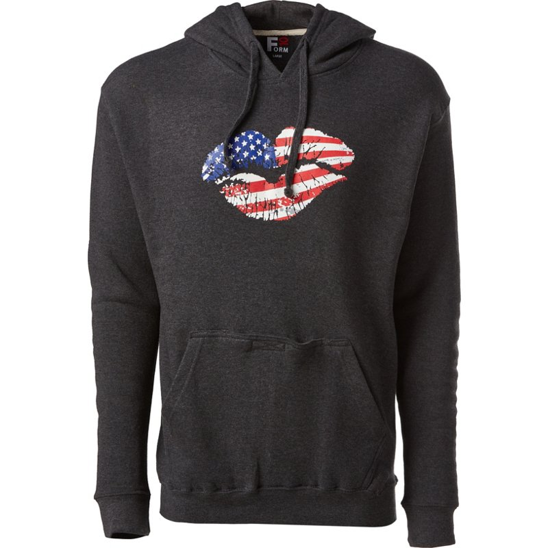 Academy Sports + Outdoors Women's Kiss Patriotic Hoodie Charcoal, Small - Women's Graphic Tops